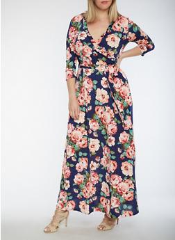 Plus Size Floral Faux Wrap Maxi Dress - 3930054263489