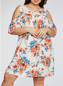Plus Size Floral Cold Shoulder Dress - 3930054263497