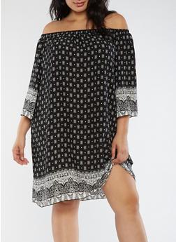 Plus Size Border Print Off the Shoulder Dress - 3930054264416