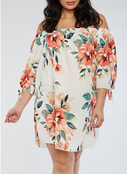 Plus Size Off the Shoulder Crepe Knit Dress - 3930054265089