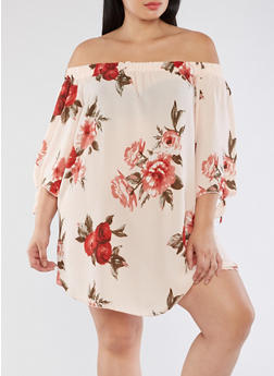 Plus Size Floral Off the Shoulder Shift Dress - 3930054265189