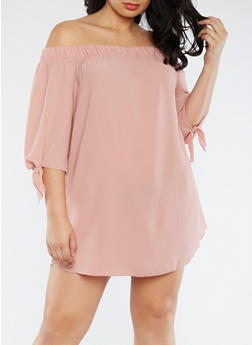 Plus Size Off the Shoulder Crepe Knit Dress - MAUVE - 3930054265789