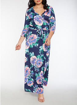 Plus Size Floral Faux Wrap Maxi Dress - 3930054268915