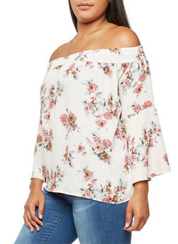 Plus Size Floral Bell Sleeve Off the Shoulder Top - 3930061350326