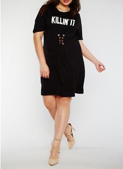 Plus Size Killin It Graphic Lace Up Dress - 3930061353021