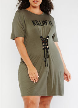 Plus Size Killin It Graphic Lace Up Dress - OLIVE - 3930061353021