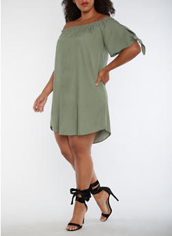 Plus Size Off the Shoulder Dress - 3930061354325