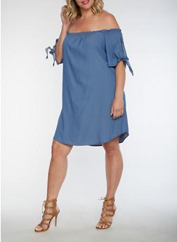 Plus Size Off the Shoulder Dress - 3930061354325