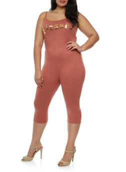 Plus Size Blessed Cropped Catsuit - 3930061354451