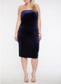 Plus Size Velvet Tube Dress - 3930061357175