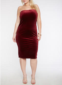 Plus Size Velvet Tube Dress - 3930061357175