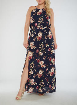 Plus Size Sleeveless Floral Maxi Dress with Cinched Waist - 3930061359117