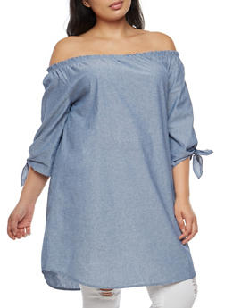 Plus Size Off the Shoulder Chambray Dress - 3930061359153