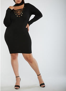 Plus Size Ribbed Knit Lace Up Dress - BLACK - 3930062702707
