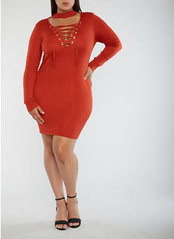 Plus Size Ribbed Knit Lace Up Dress - 3930062702707