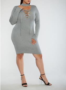 Plus Size Ribbed Knit Lace Up Dress - GREY - 3930062702707