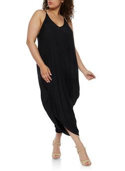 Plus Size Sleeveless Parachute Jumpsuit - BLACK - 3930062705624