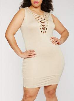 Plus Size Sleeveless Lace Up Dress - STONE - 3930062705649