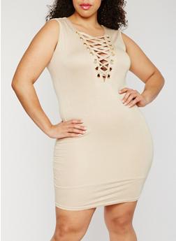 Plus Size Sleeveless Lace Up Dress - 3930062705649