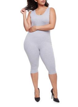 Plus Size Sleeveless Capri Catsuit - 3930062706397