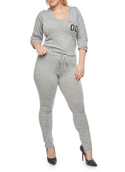 Plus Size Soft Knit Killing It Hooded Top and Marled Pants - 3930062708007