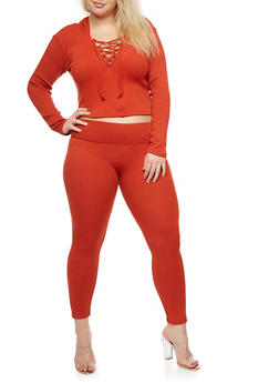 Plus Size Hooded Lace Up Crop Top and Knit Leggings Set - 3930062708011