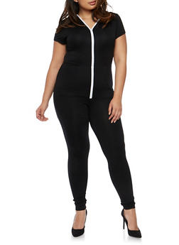 Plus Size Zip Front Hooded Jumpsuit - 3930062709861