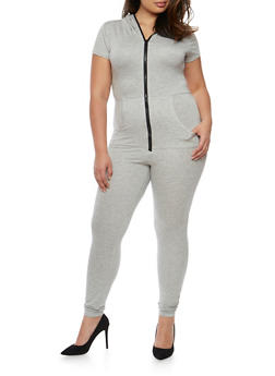 Plus Size Zip Front Hooded Jumpsuit - HEATHER - 3930062709861
