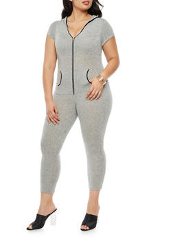 Plus Size Front Zip Hooded Jumpsuit - 3930062709865