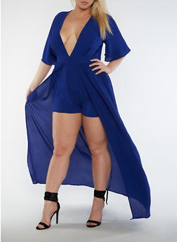 Plus Size Crepe Knit Romper with Skirt Overlay - 3930062709899