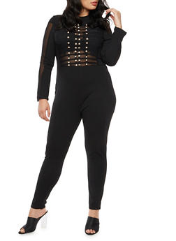 Plus Size Mesh Jumpsuit with Metallic Front Detail - 3930062709946