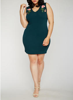 Plus Size Embroidered V Neck Mini Dress - 3930065620082