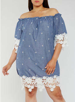 Plus Size Off the Shoulder Chambray Dress with Crochet Trim - 3930065621418