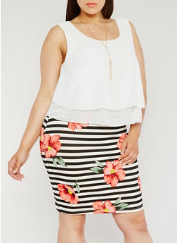 Plus Size Floral Striped Dress with Solid Overlay - 3930065622936