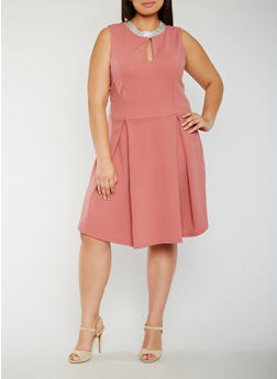 Plus Size Pleated Skater Dress with Jewel Neckline - 3930065623051