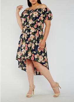 Plus Size Floral Off the Shoulder Dress with Chain Belt - 3930065623599