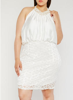Plus Size Lace Dress with Beaded Halter Neck - WHITE - 3930065625028