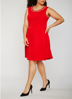 Plus Size Textured Knit Jewel Trim Skater Dress - 3930065625081