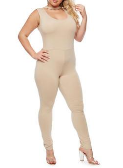 Plus Size Sleeveless Catsuit - LATTE - 3930066493043