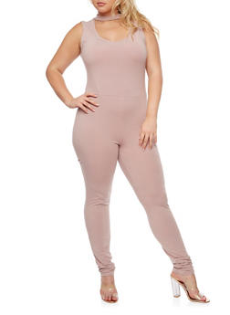 Plus Size Sleeveless Catsuit - 3930066493043