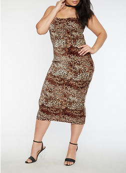 Plus Size Velvet Leopard Tube Dress - 3930068510344