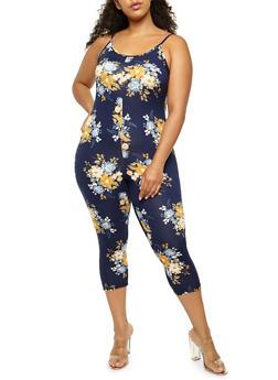 Plus Size Floral Capri Catsuit - 3930068511539