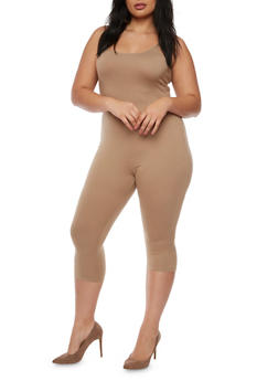 Plus Size Cropped Catsuit - 3930068513826