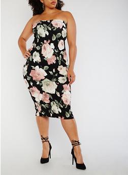 Plus Size Strapless Floral Bodycon Dress - 3930068514133