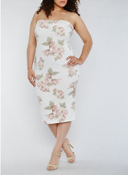 Plus Size Strapless Floral Bodycon Dress - 3930068514133