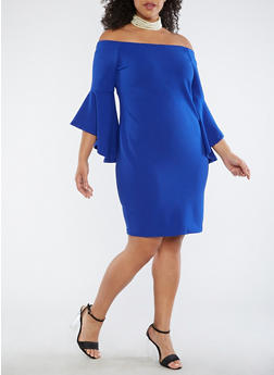Plus Size Off the Shoulder Bell Sleeve Dress - 3930069393004