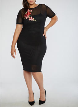 Plus Size Floral Applique Mesh Dress - 3930069393017