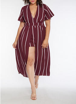 Plus Size Striped Romper with Maxi Skirt Overlay - 3930069393047