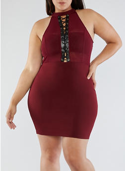 Plus Size Lace Up Dress with Mesh Trim - 3930069393333