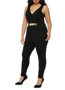 Plus Size Soft Knit Sleeveless Jumpsuit with Metal Bar Belt - 3930069396559